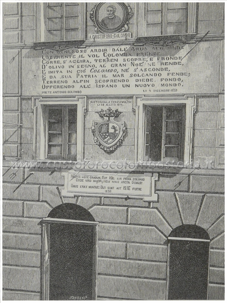 Cogoleto: Casa ove nacque Cristoforo Colombo - Incisore Barberis - (da fotografia di Ciappei).