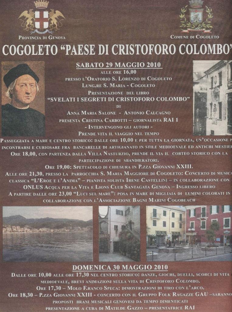 Locandina 2010 presentazione libro su Colombo